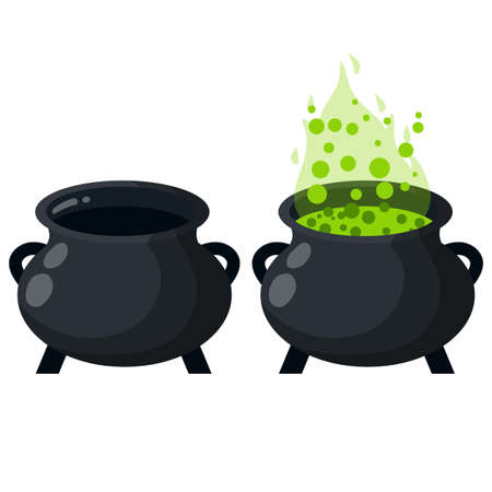 Set of Element of Halloween. Witch and sorcerer's item. Cartoon flat illustration Vector Illustration