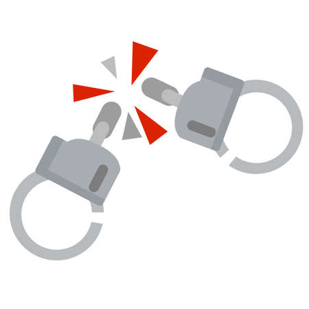 Handcuff. Icon of arrest of offender. Element of police and prisons. Restriction of freedom and release. Broken Shackles for hand. Damaged chain. Ilustração
