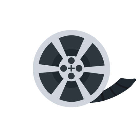 Black Reel with film. Flat cartoon illustration isolated on white. Retro bobbin. Movie shooting icon 矢量图像