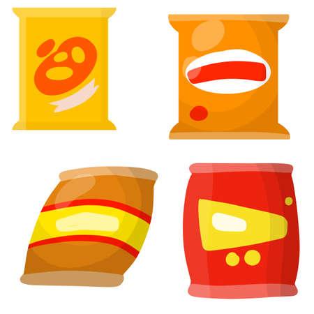 Set of different snacks. Junk street food. Cartoon flat illustration. Package of crackers.