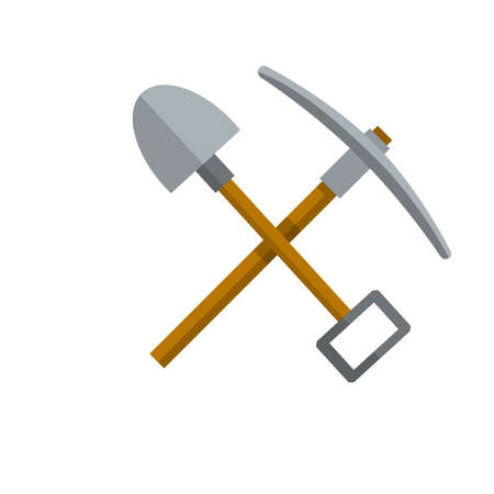 Items for extraction of minerals. Cartoon flat illustration. Logo of Labor and work. Rural tool. Iron pickaxe Logo