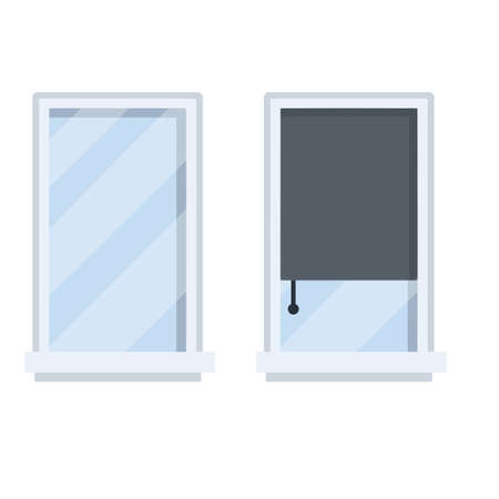 Blue glass and pink roll curtains. Element of decoration of room and wall of house. Cartoon flat illustration