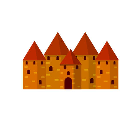 Medieval fortress with towers and walls. Old European city and castle. Historical building of knight. Red house. Isolated flat cartoon
