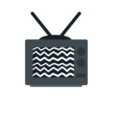 Old TV. Retro television. Problems with broadcasting. Noise and interference on the screen. Home appliance with an antenna. Watch movies and videos. Flat cartoon