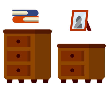 Nightstand and small wardrobe. Brown wooden furniture with drawers. Element of the room interior. Bedside table. Flat cartoon