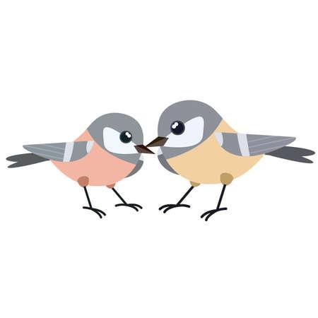 Set of Bird. Wild animal. Winged songbird. Cartoon flat illustration