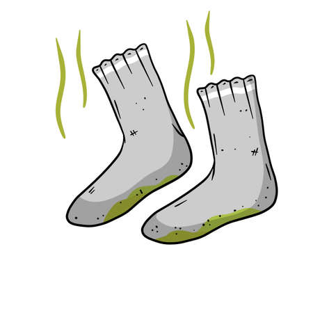 Dirty sock. Smelly feet. Sloppy clothes. Stinky toe. Gray Object for washing. Cartoon flat illustration. Green wave. The bad stench Vektorové ilustrace