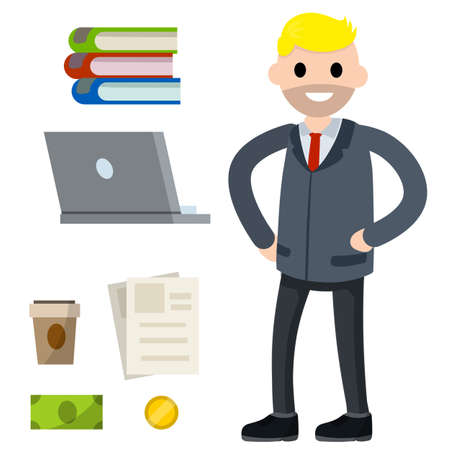 Male employee in shirt and tie. Office man and set of objects. Cute character. Joyful guy. Cartoon flat illustration. Books, laptop, coffee, document file, cash and coin money