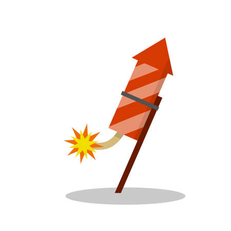 Rocket for fireworks. Firecracker and explosion. Cartoon flat illustration. Flying red object. Celebration and entertainment