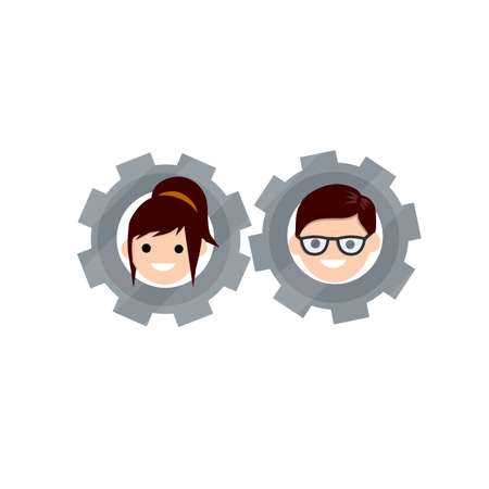 Gear with faces of men and women. Concept of successful love relationship. Boyfriend and girlfriend. Cartoon flat illustration. Head guy and girl. Romantic mechanism