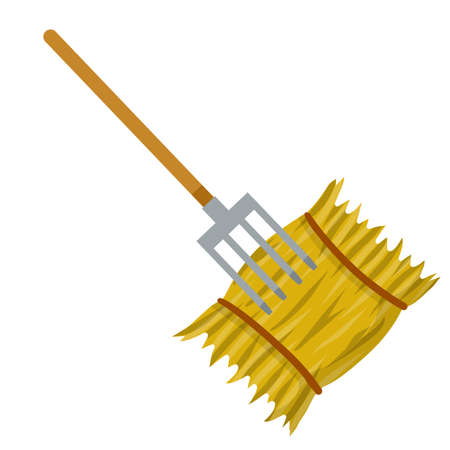 Yellow haystack and hayfork. Cartoon flat illustration. Rustic sheaf. countryside harvest of crop. Organic food and fork
