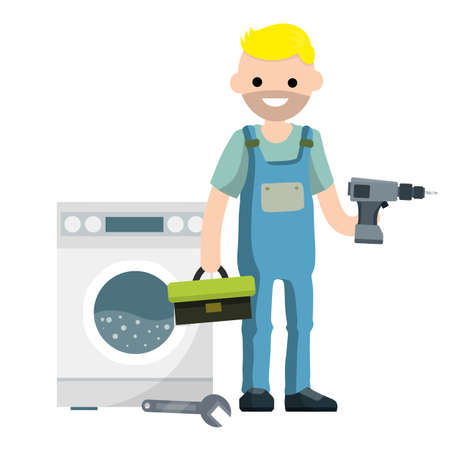 Plumber repairs washing machine. Breakdown of household appliances. Worker with a wrench, tool. Service and fix. Toolbox in hand. Problem with Laundry.