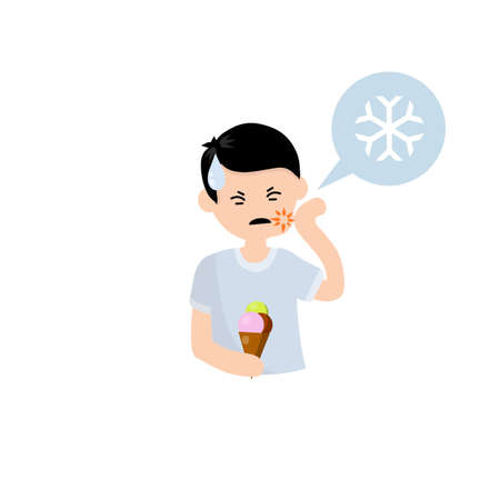 Tooth sensitivity. Man and ice cream. Pain in cheek and cold. Sad boy. Cartoon flat illustration. Soreness and need for treatment. Bubble with a snowflake icon
