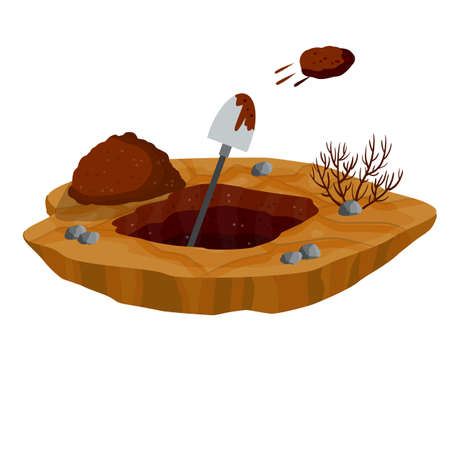 Digging a hole. Shovel and dry brown earth. Grave and excavation. Pile dirt and stones. Cartoon flat illustration in white background. Funeral in desert