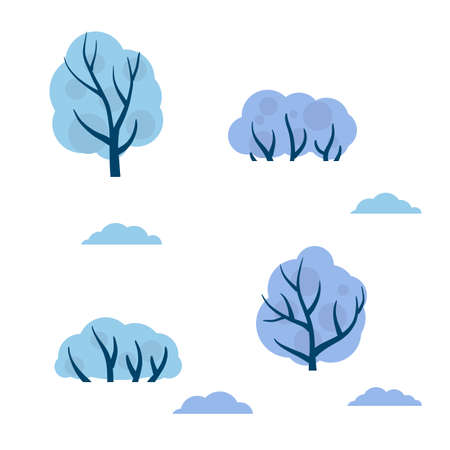 Set of winter trees. White snow on the branches. Element of forests, parks, nature. Cold Northern weather. Cartoon flat illustration 向量圖像