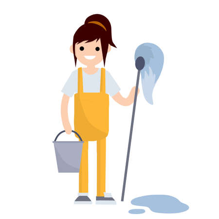 Girl in a yellow uniform wipes the floor from dirt and puddles. Cleaning service. Type of work and profession. Cartoon flat illustration