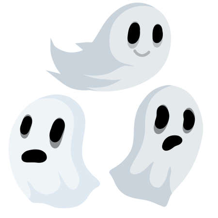 Ghost. Funny flying spirit.The Halloween element. White cute character. Set of Flat cartoon illustration. Icon of death