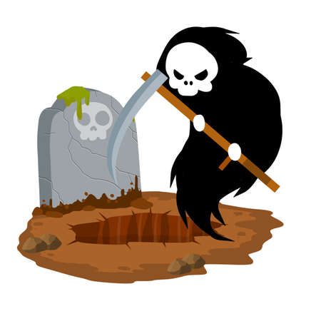 Death in cemetery. Scary character with scythe. Ghost at stone tombstone. Grave and funeral. Gravestone on ground. Halloween element. Flat concept