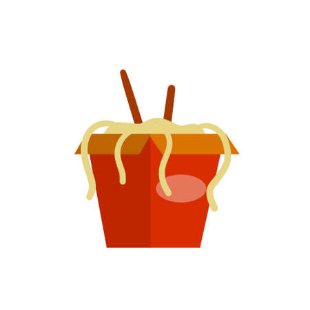 Box of noodles. Asian fast food with chopsticks. Red packaging of macaroni. Japanese and Chinese junk street food. Flat cartoon illustration 矢量图像