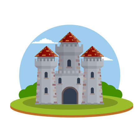 Military building of knight and king. Defense and reliability. Tower, wall and gate. Cartoon flat illustration. Green landscape Ilustrace