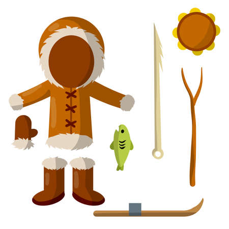 Set of eskimo and Aleutian objects. Warm clothing made of leather, boots, glove, tambourine, harpoon for hunting and fishing, fish, stick, ski. Life in Arctic and North. Cartoon flat illustration Vetores
