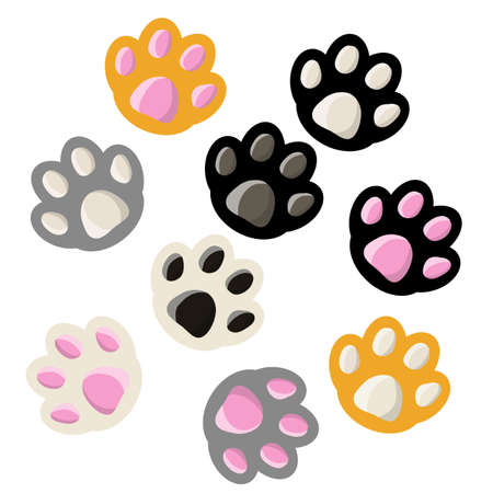 Set of paws cats. The element of the animal's feet. Pet in black, white, red, gray color. Cute cartoon flat illustration