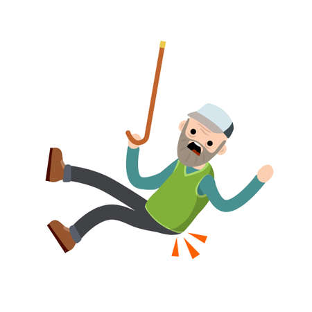 Old Man falls to ground. Sore spot and back pain. Grandfather failure and injury. Cartoon flat illustration. Senior with wand slipped. Health problem