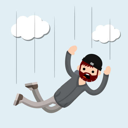 Falling man. horror and fear of heights - phobia Acrophobia. Cartoon flat illustration. Flight among clouds. Drop young guy