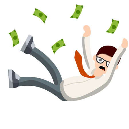 Falling down man in shirt and tie. Office problem. Employee dismissal. Money and crisis. Scared guy. Cartoon flat illustration. Work in Economics. Work in exchange. Gold coin. Collapse and bankruptcy