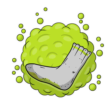 Dirty sock. Sloppy clothes. Stinky toe. Gray Object for washing. Cartoon flat illustration. Green bubble acid cloud. Smelly feet. Bad stench Vettoriali