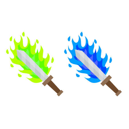 Fiery sword. Magic weapon of a knight, a sorcerer, a magician. Green acid and blue Fire spell. The medieval element of the game. Dangerous cold flames. Cartoon flat illustration. Burning blade.
