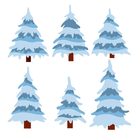Set of winter tree. Snow on branches. Element of nature and forests. Cartoon flat illustration. Cold season. New year and Christmas decorations