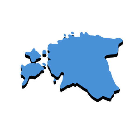 Map of Estonia. States of Eastern Europe in national colors. Blue Silhouette of the country. Flat illustration