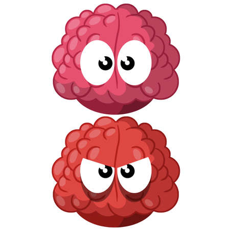 Funny brain with eyes. Cute and evil character. Thought and think. Pink head organ and mind. Angry and kind emotion. Cartoon flat illustration Ilustracja