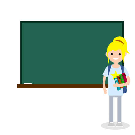 Female student with books and backpack in high school at clean Board with chalk. Education in University and College. Girl and knowledge. Young woman. Cartoon flat illustration
