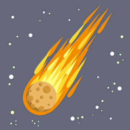 Meteor with trail of fire.  Flying in sky. Stars and astronomy. Cartoon flat illustration