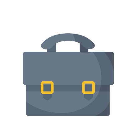 Gray Suitcase. Gray case. Cartoon flat illustration. Business bag icon