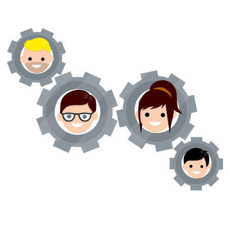 Gears with faces of men and women. Social life. Concept of successful love relationship. Romantic mechanism. Head guy and girls. Boyfriend and girlfriend. Cartoon flat illustration