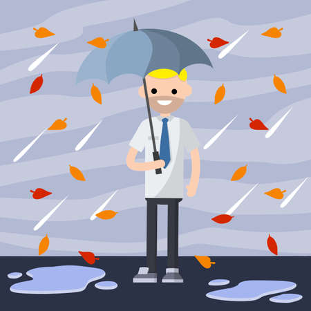 Office worker in a white shirt and tie is standing in the rain with blue umbrella. Cartoon flat illustration. Protection from Bad autumn weather with clouds. Drops of water fall down. Puddles of dirt