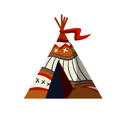Indian wigwam. Tent made of skins. Brown tepee. Tribal hut. Cartoon flat illustration. Home of native American