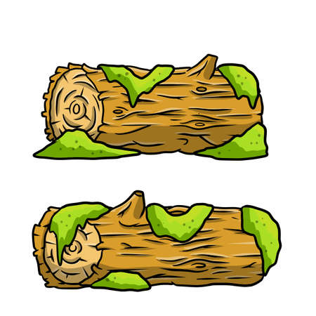 Vector brown log with green moss. Building wood material, natural element. Environment of forest. Set of cartoon illustration