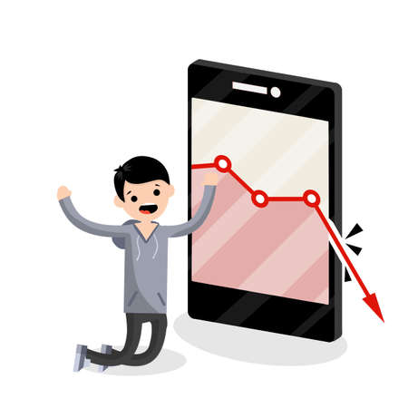 Large mobile phone with falling red business graph. Sad young blogger guy on knees. decrease in views and subscribers. Internet statistics. Business problem. man and a smartphone. Flat illustration 일러스트