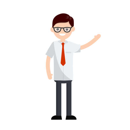 Cartoon flat illustration - young office guy in white shirt and red tie waving hand. happy man company employee. Hand gesture. Ilustracja