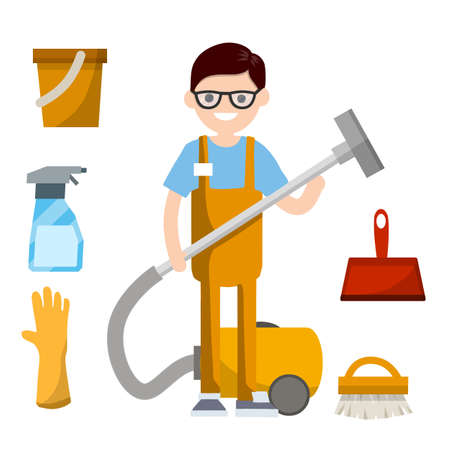 Man in orange jumpsuit stand with vacuum hose to clean house from dust and dirt. Technical service worker - cartoon flat illustration. Set of object - Glove and bucket, brush, dustpan, detergent