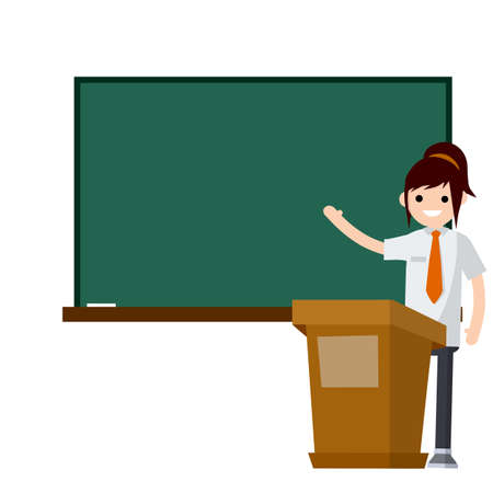 School teacher stand near blackboard. Lecturer in College in classroom. Clean chalkboard for chalk text. man in suit. Cartoon flat illustration. Podium for speech. Profession at University