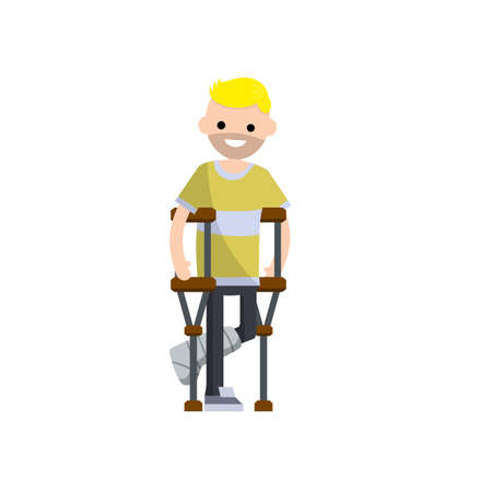 Broken leg. Man on crutches standing with plaster on his leg. The injured guy. The need for Medical care. Sick patient. Cartoon flat illustration Ilustracja