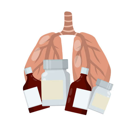Medical care. Internal human organs. Cartoon flat illustration. Health and treatment. Set of package with pill and drug