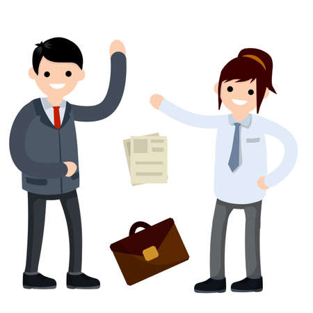 Woman employee in shirt and tie. Case and paper file document. Colleagues and friends. Cartoon flat illustration. Office man in funny pose and set of objects