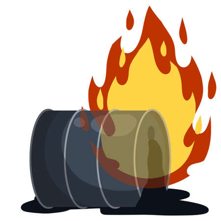 Petroleum packaging. Fire in gasoline Tank. Resource crisis. Accident and flames. Cartoon flat illustration