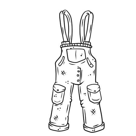 Blue overalls for the worker. Denim Clothing with pockets. The gardener and farmer element. Drawn cartoon illustration